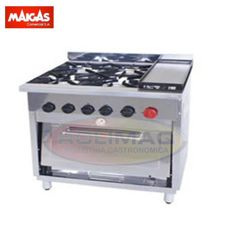 Cocina industrial 4 platos con churrasquera