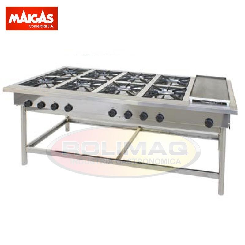 Anafe industrial 8 platos con plancha